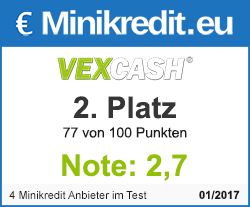 Vexcash 2. Platz - Minikredit Test