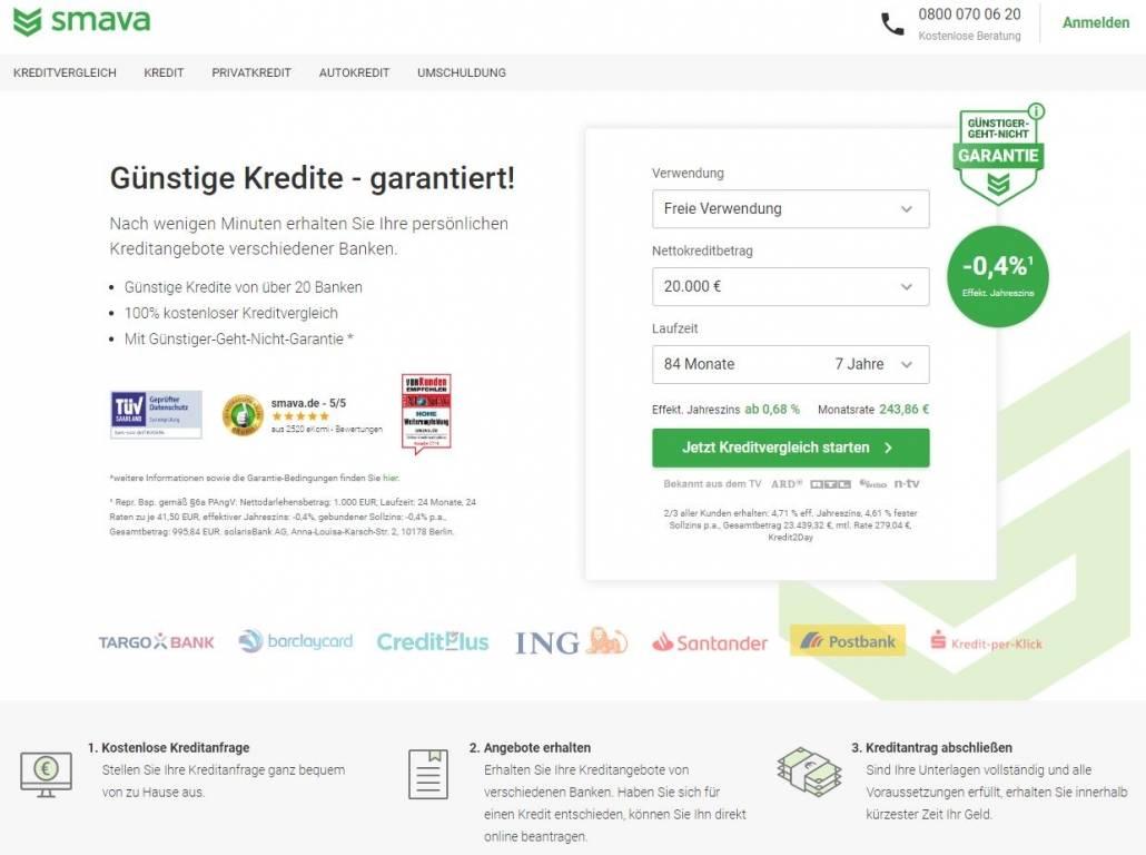 Die Webseite von Smava