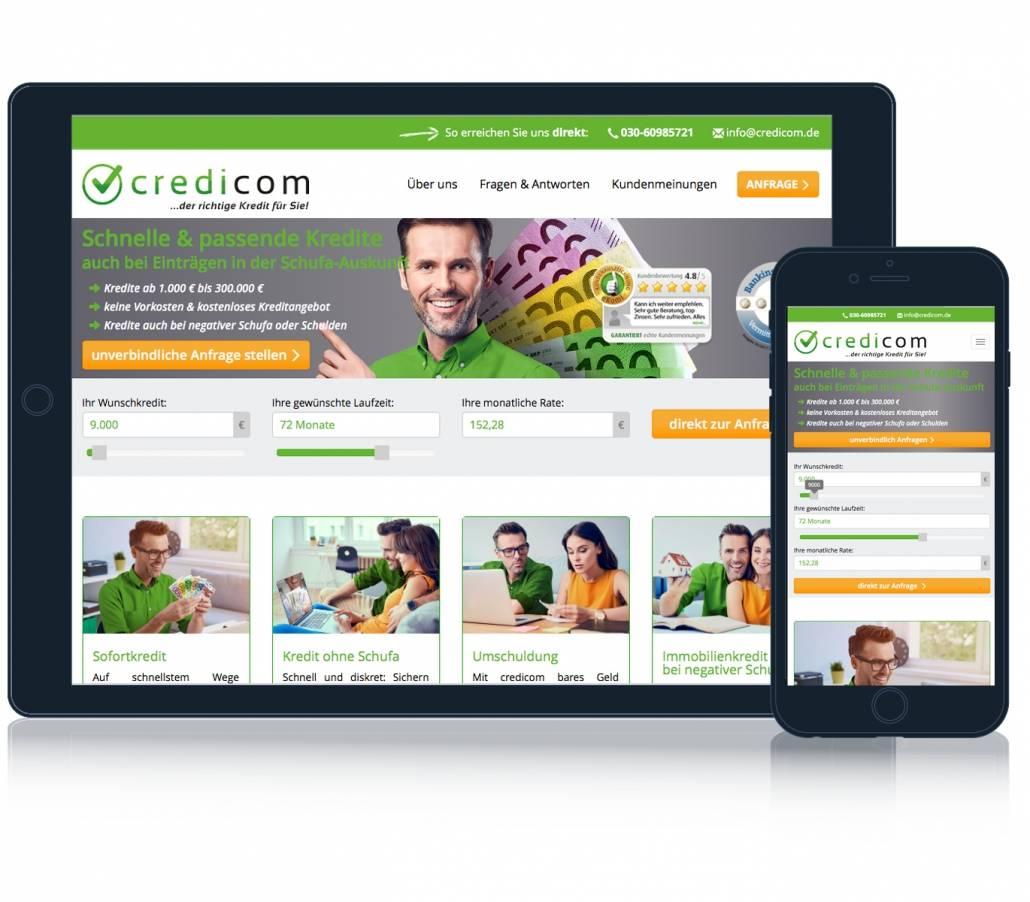 Die Ansicht der Credicom Website auf mobilen Endgeräten.