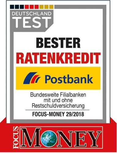 Postbank als Bester Ratenkredit 2018 ausgezeichnet