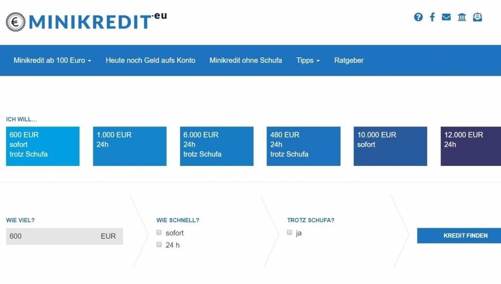Neue Suchfunktion auf minikredit.eu