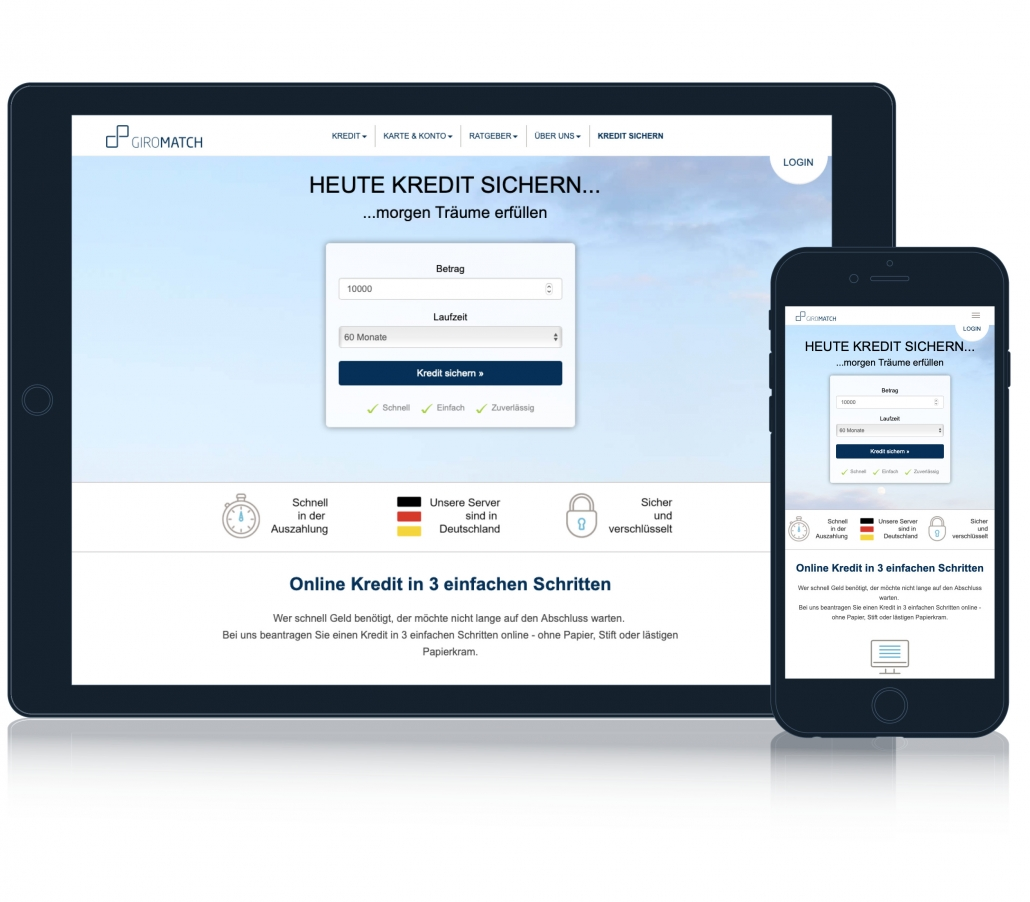 Giromatch - Wo sie Kredit von Privatanbietern und Banken finden.
